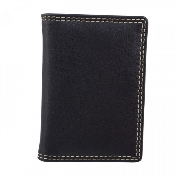 Leather Card Case with ID Window by Bugatti - Black